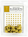 American Crafts Elements Medium glitter Brads - gold