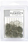 American Crafts Elements Buttons - glitter Silver