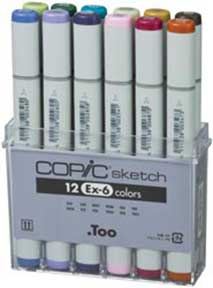 NEW 2012 -  12 Piece Copic Pen Set (EX-6)