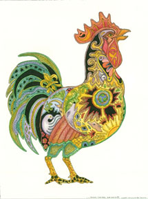 Earth Art International - Rubber Cling Stamps - Rooster