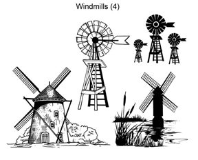 Local King Rubber Stamp - Windmills