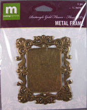 K&Company - gold Rectangle closed frame with Pearls - 34793