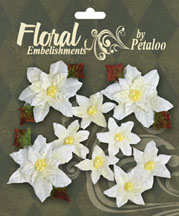 Petaloo - Velvet Poinsettias - White