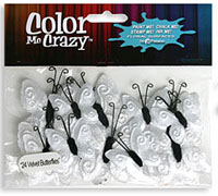 Petaloo - Color Me Crazy Velvet Butterflies - White