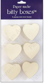 Craft Pedlars Paper Mache Box Bitty Heart Vanilla 6pc
