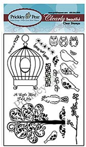 Prickley Pear Clear Acrylic Stamps - Birdcage Set