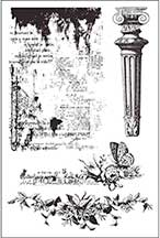 Prima Garden Fable Column, Newsprint & Floral Cling Rubber Stamps